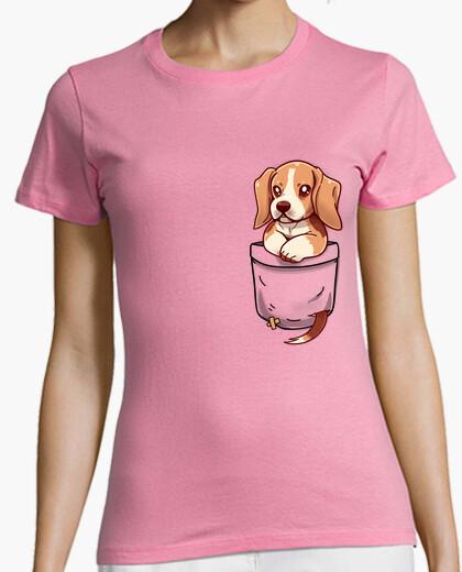 Camiseta bolsillo lindo beagle - camisa de mujer