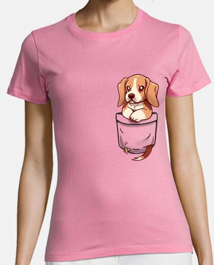 bolsillo lindo beagle - camisa de mujer