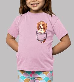 bolsillo lindo beagle - camisa de niños
