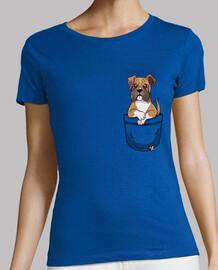 bolsillo lindo boxeador cachorro - camisa de mujer