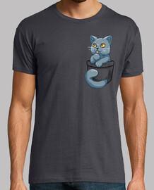 bolsillo lindo británico gato de pelo corto - camisa de hombre