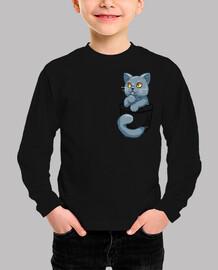 bolsillo lindo británico gato de pelo corto - camisa de niños