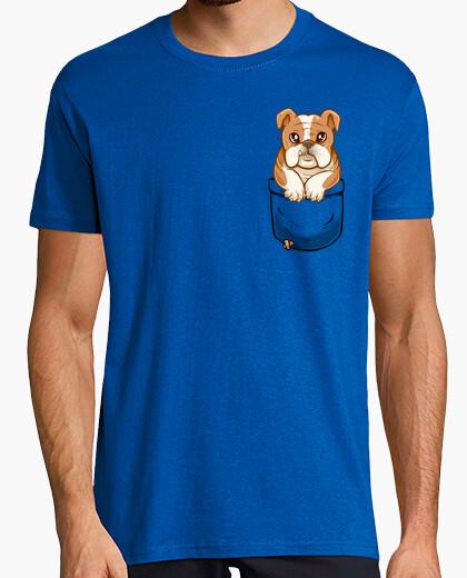 Camiseta bolsillo lindo bulldog inglés - camisa para hombre