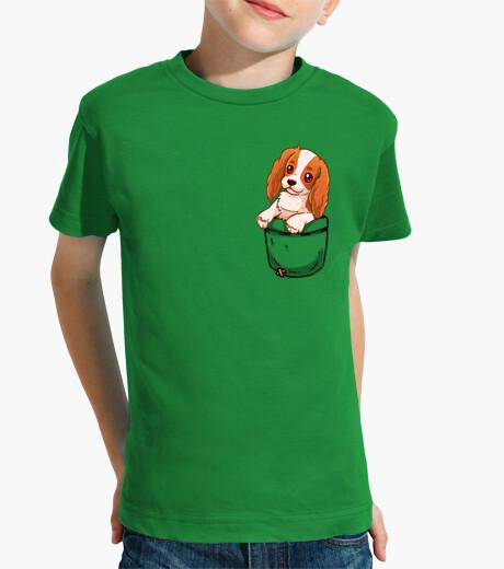 Ropa infantil bolsillo lindo charles spaniel cavalier - camisa de niños