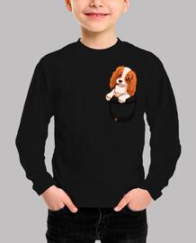 bolsillo lindo charles spaniel cavalier - camisa de niños