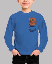bolsillo lindo chocolate labrador - camisa de niños