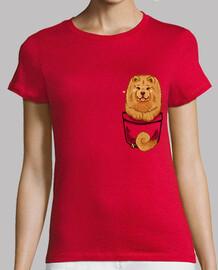 bolsillo lindo chow chow - camisa de mujer