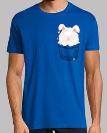 bolsillo lindo conejo de angora - camisa de hombre