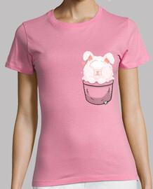 bolsillo lindo conejo de angora - camisa de mujer