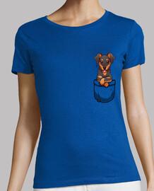 bolsillo lindo dobermann perro - camisa de mujer