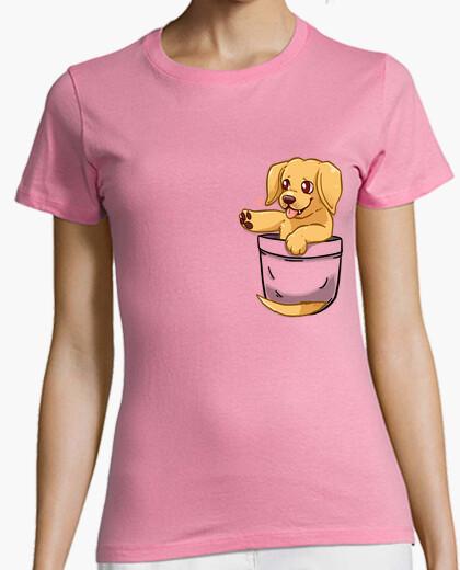 Camiseta bolsillo lindo dorado labrador - camisa de mujer