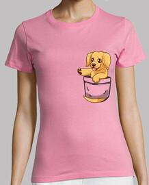 bolsillo lindo dorado labrador - camisa de mujer