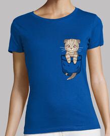 bolsillo lindo escocés pliegue - camisa de mujer