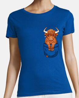 bolsillo lindo escocés vaca de montaña - camisa de mujer