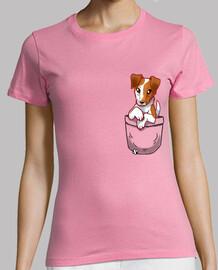 bolsillo lindo fox terrier hound liso - camisa de mujer