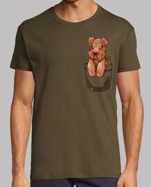 bolsillo lindo galés terrier cachorro - camisa de hombre