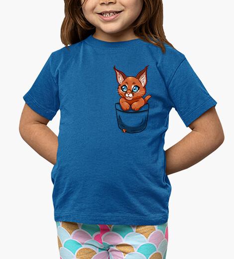 Ropa infantil bolsillo lindo gatito caracal - camisa de niños