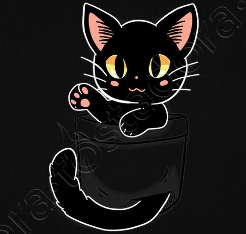 Tee Shirt Poche Chat Noir Mignon Chemise De Womans 1836871