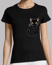 bolsillo lindo gato negro - camisa de mujer