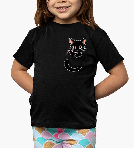 Ropa infantil bolsillo lindo gato negro - camisa de niños