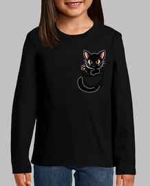 bolsillo lindo gato negro - camisa de niños