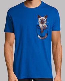 bolsillo lindo gato siamés - camisa para hombre