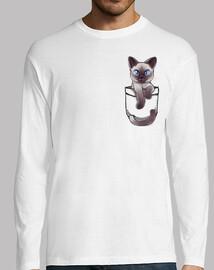 bolsillo lindo gato siamés - manga larga para hombre
