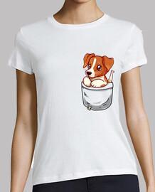 bolsillo lindo jack russell terrier - camisa de mujer