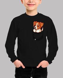 bolsillo lindo jack russell terrier - camisa de niños