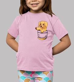 bolsillo lindo labrador dorado - camisa de niños