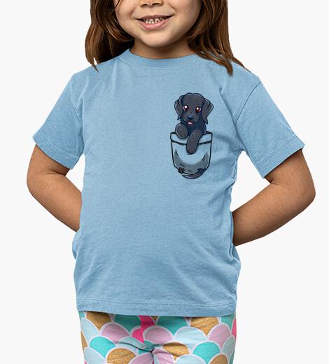 Ropa infantil bolsillo lindo negro labrador - camisa de niños