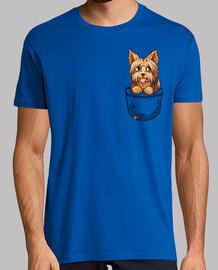 bolsillo lindo perrito yorkshire yorkshire - camisa de hombre
