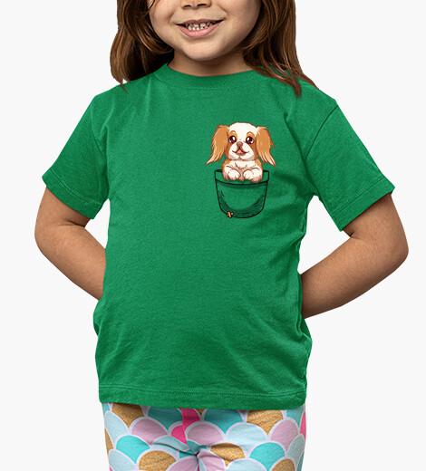 Ropa infantil bolsillo lindo perro barbilla japonesa - camisa de niños