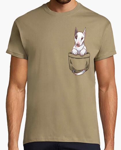 Camiseta bolsillo lindo perro bull terrier - camisa de hombre