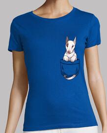 bolsillo lindo perro bull terrier - camisa de mujer