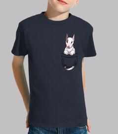 bolsillo lindo perro bull terrier - camisa de niños