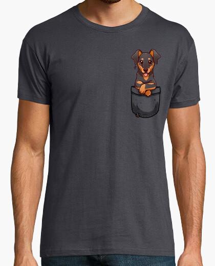 Camiseta bolsillo lindo perro dobermann - camisa para hombre