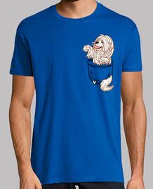 bolsillo lindo perro komondor - camisa de hombre