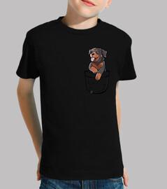 bolsillo lindo perro rottweiler - camisa para niños