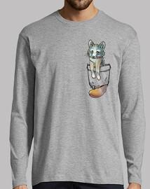 bolsillo lindo zorro gris - manga larga para hombre