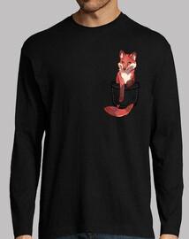 bolsillo lindo zorro rojo - manga larga para hombre