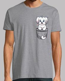 bolsillo maltés perro lindo - camisa de hombre