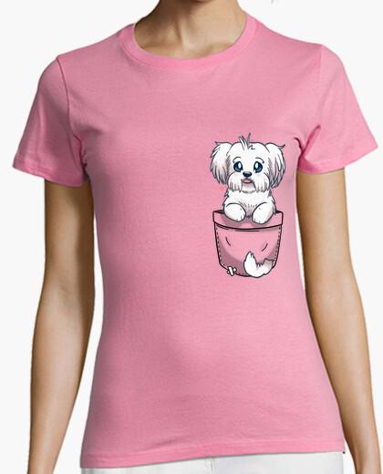 Camiseta bolsillo maltés perro lindo - camisa de mujer