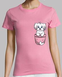 bolsillo maltés perro lindo - camisa de mujer