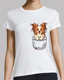 bolsillo papillon puppy - camisa de mujer