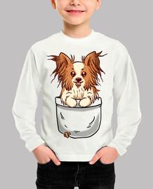 bolsillo papillon puppy - camisa de niños