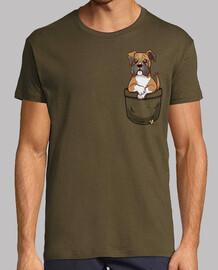 bolsillo perrito boxeador lindo - camisa de hombre