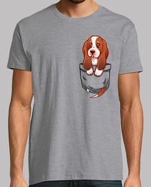 bolsillo perrito lindo basset hound - camisa de hombre