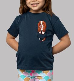 bolsillo perrito lindo basset hound - camisa de niños