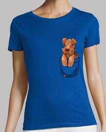 bolsillo perrito lindo galés terrier - camisa de mujer